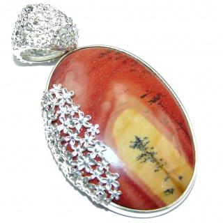 Australian Bracciated Mookaite .925 Sterling Silver handcrafted pendant