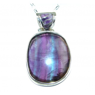 Genuine purple Fluorite .925 Sterling Silver 22 inches Necklace
