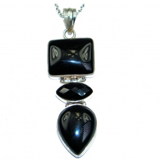 Genuine Onyx Stones .925 Sterling Silver handcrafted Necklace
