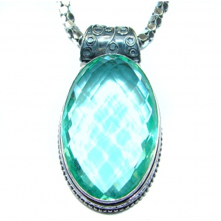 Great Green Topaz color Quartz .925 Sterling Silver handmade necklace