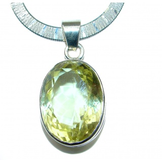 Luxurious Natural Rich Yellow Citrine .925 Sterling Silver handcrafted Necklace