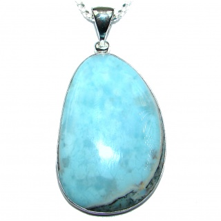 Chunky genuine Larimar .925 Sterling Silver handcrafted necklace