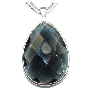Rain Drop natural Smoky Topaz .925 Sterling Silver handmade necklace