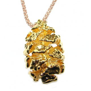 Real Pine Cone Deep In Gold .925 Sterling Silver 22 inches necklace