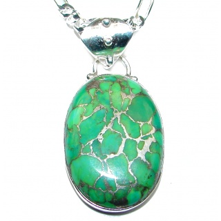 Aura Of Beauty Green Turquoise .925 Sterling Silver 22 inches long handcrafted necklace