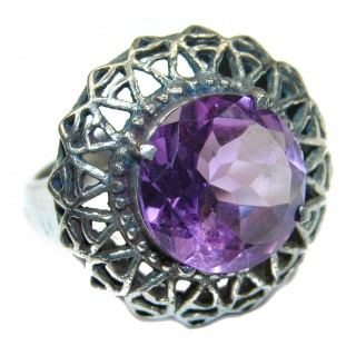 Natural Amethyst .925 Sterling Silver handmade Cocktail Ring s. 6