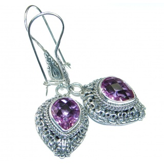 Nature inspired Design genuine Kunzite .925 Sterling Silver handcrafted earrings