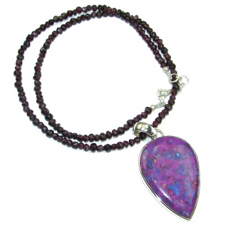 Stella Purple Sea Sediment Jasper .925 Sterling Silver handmade 20 inches longnecklace