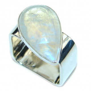 Fire Moonstone .925 Sterling Silver handcrafted ring size 6