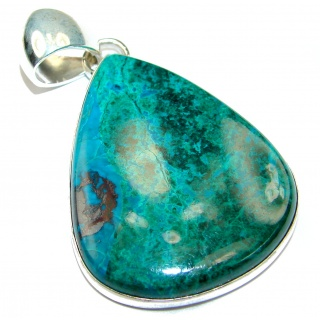 Genuine Parrot's Wings Chrysocolla .925 Sterling Silver handmade Pendant