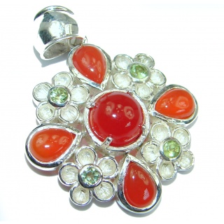 Exquisite genuine Carnelian .925 Sterling Silver handmade pendant