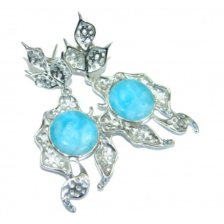 Precious genuine Blue Larimar Kyanite .925 Sterling Silver handmade earrings