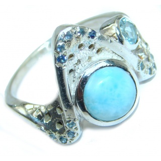 Precious Blue Larimar .925 Sterling Silver handmade ring s. 9 1/4