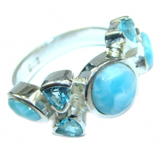Modern Concept Blue Larimar .925 Sterling Silver handmade ring s. 6 1/4