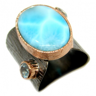 Natural Larimar Rhodium Gold over .925 Sterling Silver handcrafted Ring s. 7 adjustable