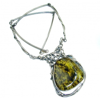 Huge Touch the Earth Natural Green Polish Amber .925 Sterling Silver handcrafted necklace