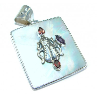 Oriental Design Blister Pearl .925 Sterling Silver handcrafted pendant