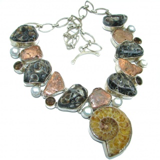 96.7g Aura Of Beauty genuine Ammonite .925 Sterling Silver handcrafted Necklace