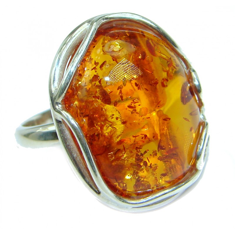 Huge Genuine Baltic Polish Amber .925 Sterling Silver handmade Ring size 7 adjustable