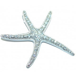 Starfish Fancy White Topaz .925 Sterling Silver Pendant