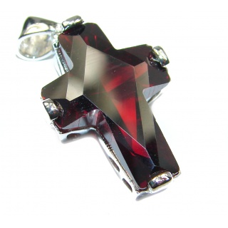 Precious Red Cubic Zirconia .925 Sterling Silver Pendant / Cross