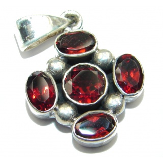 Precious Red Cubic Zirconia .925 Sterling Silver Pendant