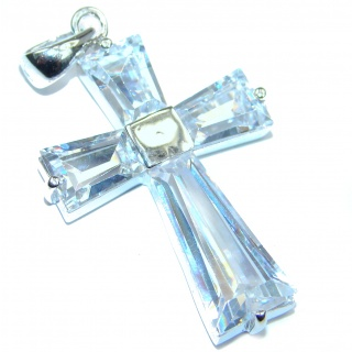 White Topaz Sterling Silver Pendant / Cross