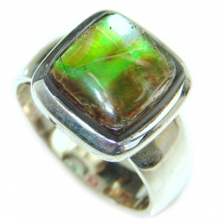Huge Incredible Ammolite .925 Sterling Silver Ring s. 6 1/4