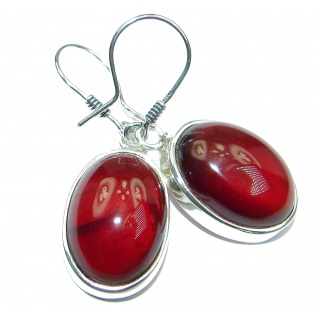 Authentic 45CT genuine Garnet .925 Sterling Silver handmade earrings