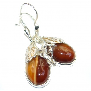 Unique Rustic design genuine Mexican Agate .925 Sterling Silver handmade earrings