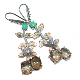 Vintage Style Smoky Topaz Emerald .925 Sterling Silver handmade earrings