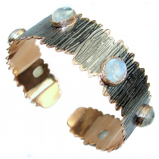 Real Treasure Fire Moonstone Rose Gold Rhodium over .925 Sterling Silver Bracelet / Cuff