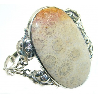 Chunky Genuine Fossilized Coral .925 over Sterling Silver handcrafted Bracelet / Cuff
