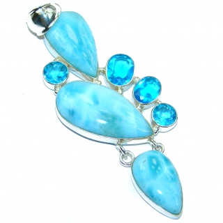 Seduction genuine Larimar .925 Sterling Silver handmade pendant