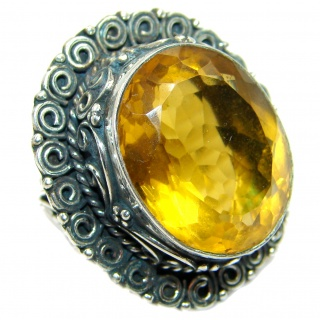 Huge Incredible Lemon Quartz .925 Sterling Silver Ring s. 9