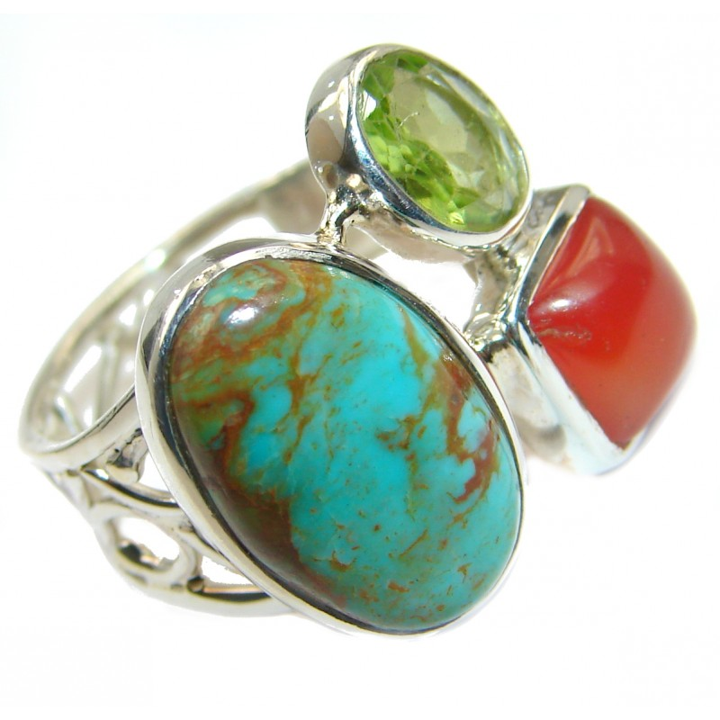 Turquoise .925 Sterling Silver handcrafted ring; s. 7 adjustable