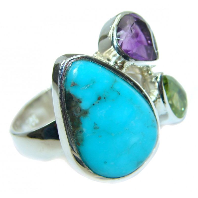 Sleeping Beauty Turquoise .925 Sterling Silver handcrafted Ring size 7 adjustable