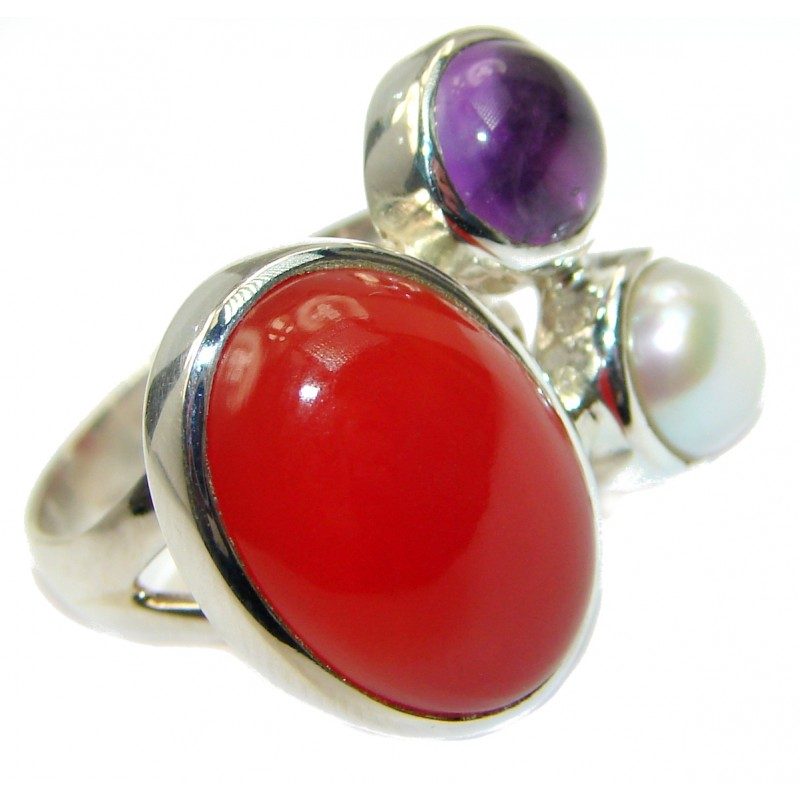 Perfect Carnelian .925 Sterling Silver handmade Ring s. 7 adjustable