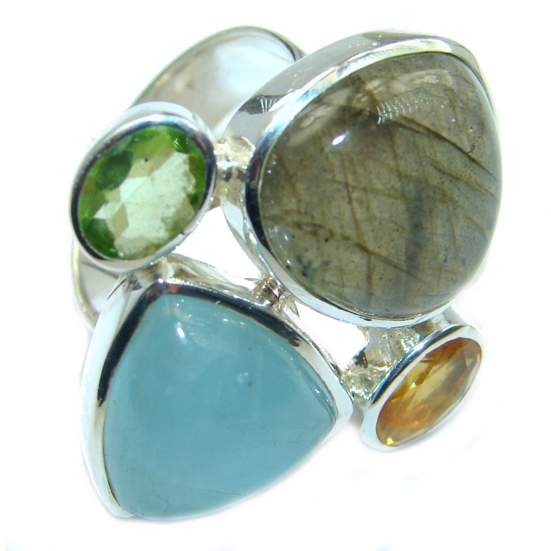 Passiom Fruit Natural Aquamarine .925 Sterling Silver Ring s. 7 adjustable