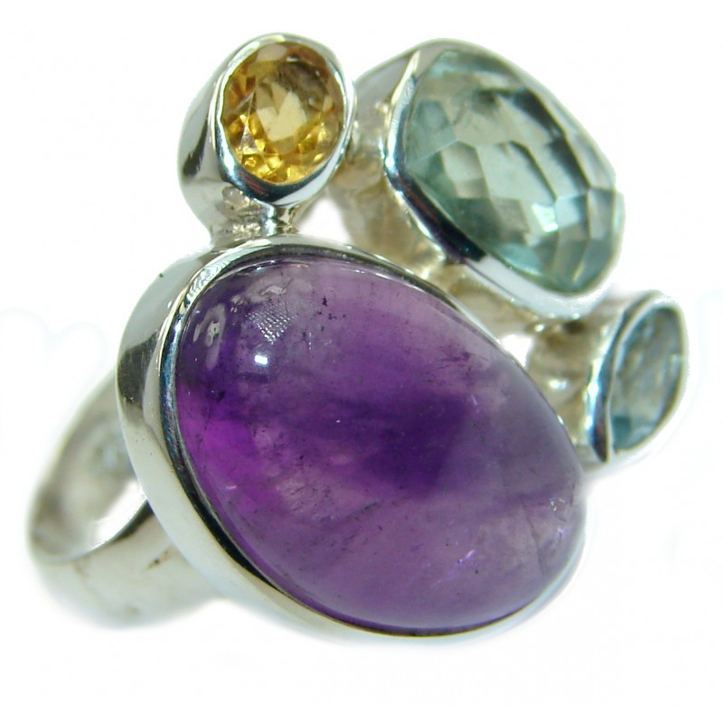 Natural Amethyst .925 Sterling Silver handmade Cocktail Ring s. 7 adjustable