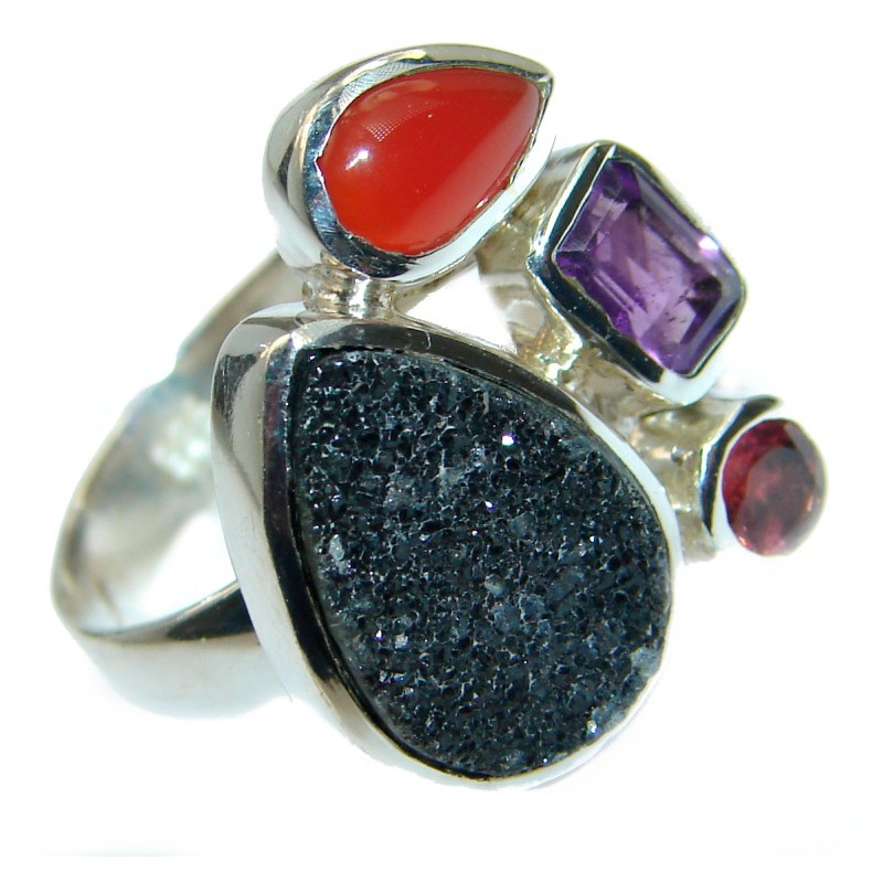 Exotic Druzy Agate .925 Silver Ring s. 7 adjustable