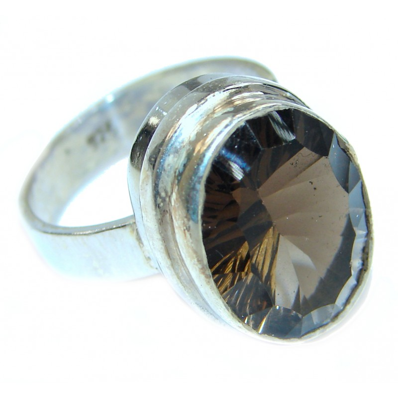 Huge Incredible Smoky Quartz .925 Sterling Silver Ring s. 7 1/2