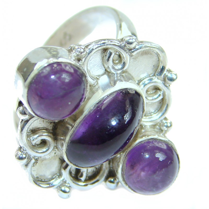 Natural Amethyst .925 Sterling Silver handmade Cocktail Ring s. 7 3/4