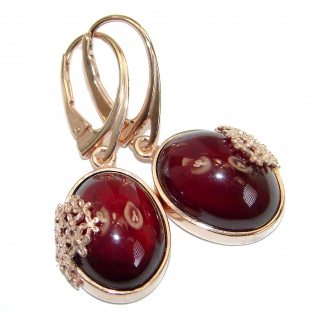 Authentic 45CT genuine Garnet 18k Gold over .925 Sterling Silver handmade earrings