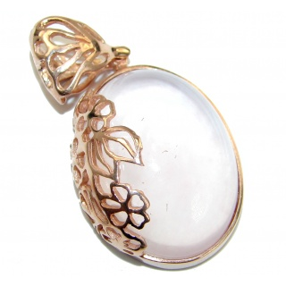 Perfection Rose Quartz 55ct Rose Gold over .925 Sterling Silver handcrafted Pendant
