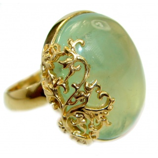 Prehnite 14K Gold over .925 Sterling Silver handmade Cocktail Ring s. 7 adjustable