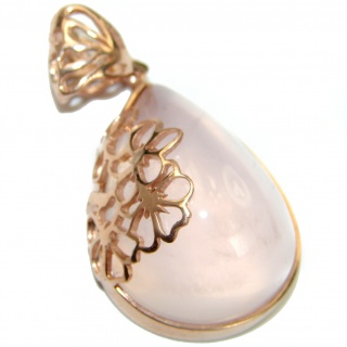 Perfection Rose Quartz 59ct Rose Gold over .925 Sterling Silver handcrafted Pendant