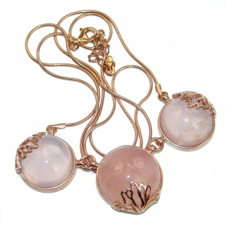 Fine Art Genuine Rose Quartz 18K Gold over .925 Sterling Silver handmade necklace