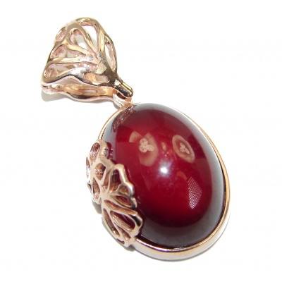 Beautiful genuine 29ct Garnet 18ct Rose Gold over .925 Sterling Silver handcrafted Pendant