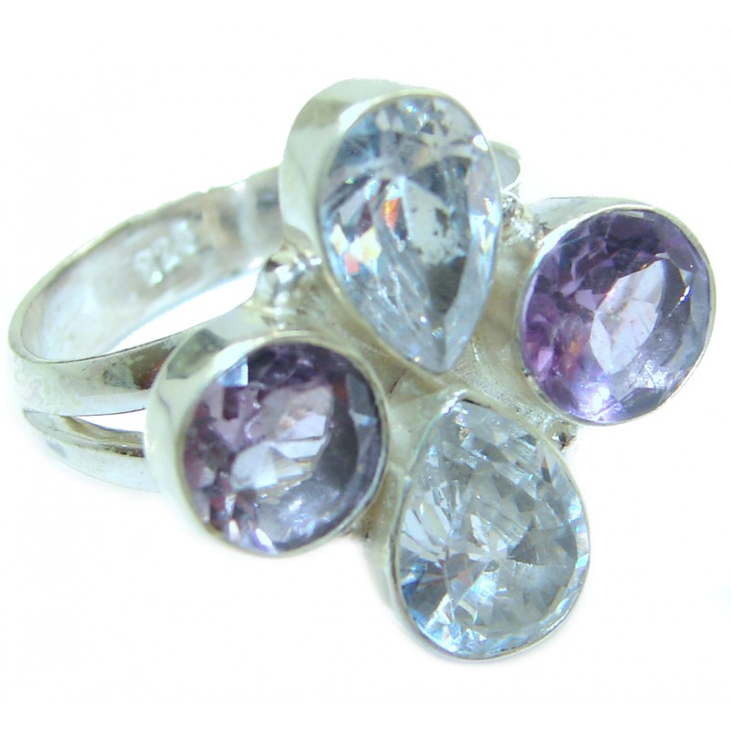 White Topaz .925 Sterling Silver handmade Statement Ring s. 8